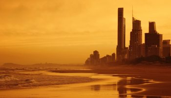 Gold coast beach builidings at dawn