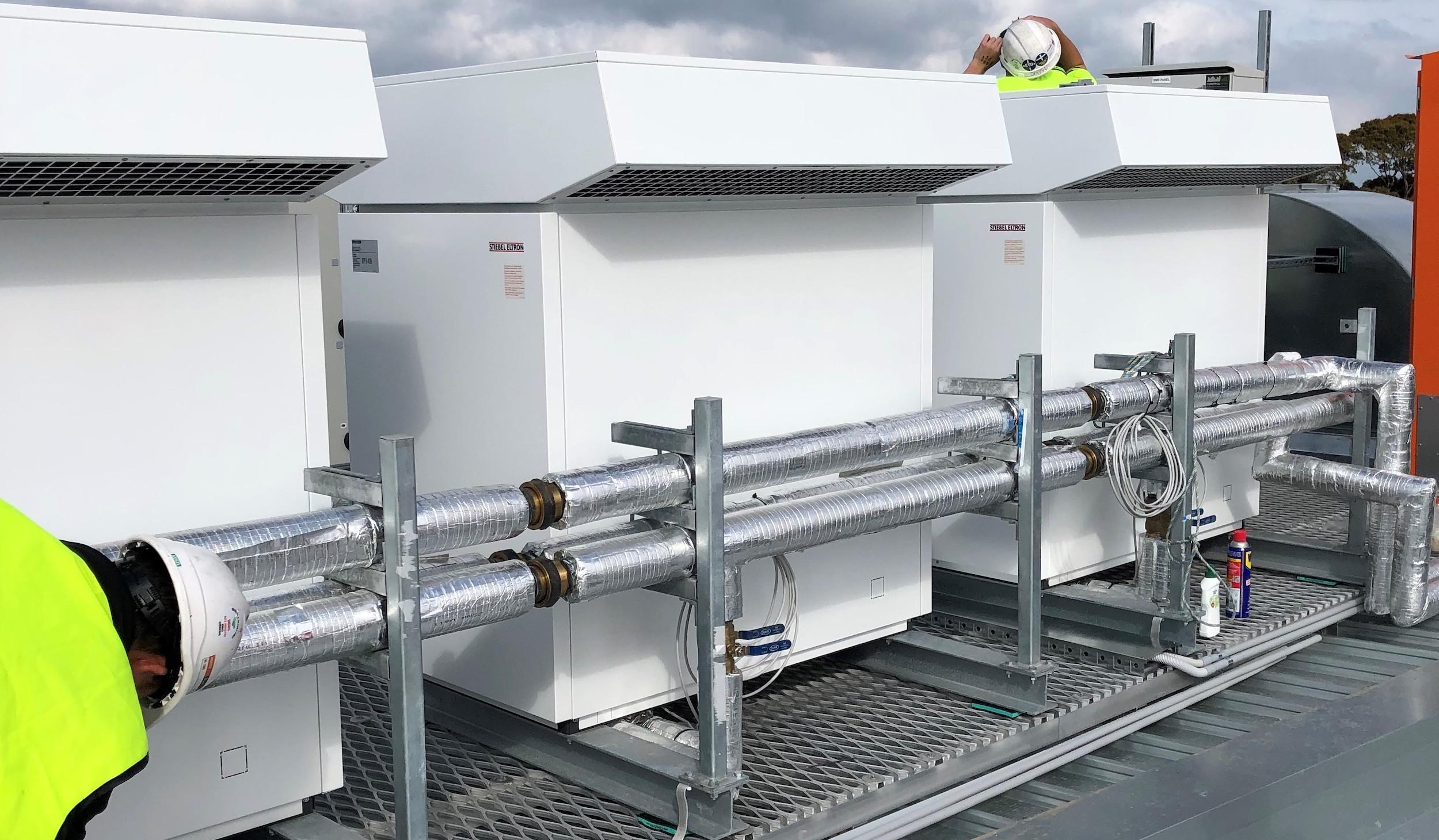 Stiebel Eltron pumps Heat Pumps on roof