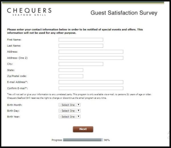 Chequers Seafood Grill Survey
