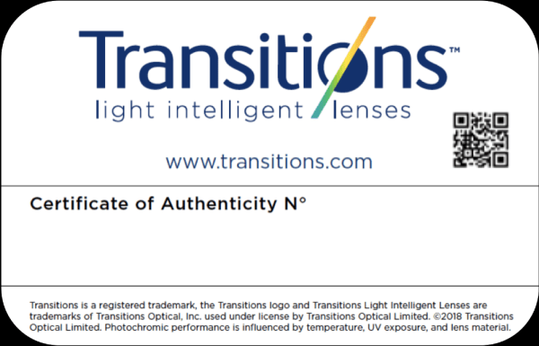 Transitions Certificate of Authenticity Sweepstakes
