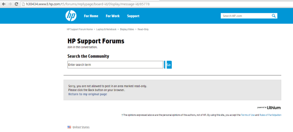 HP Notebook Support Forum