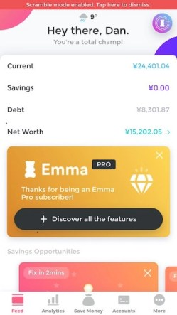 The front page of the Emma budgeting app.