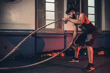 Using gym ropes for personal training.