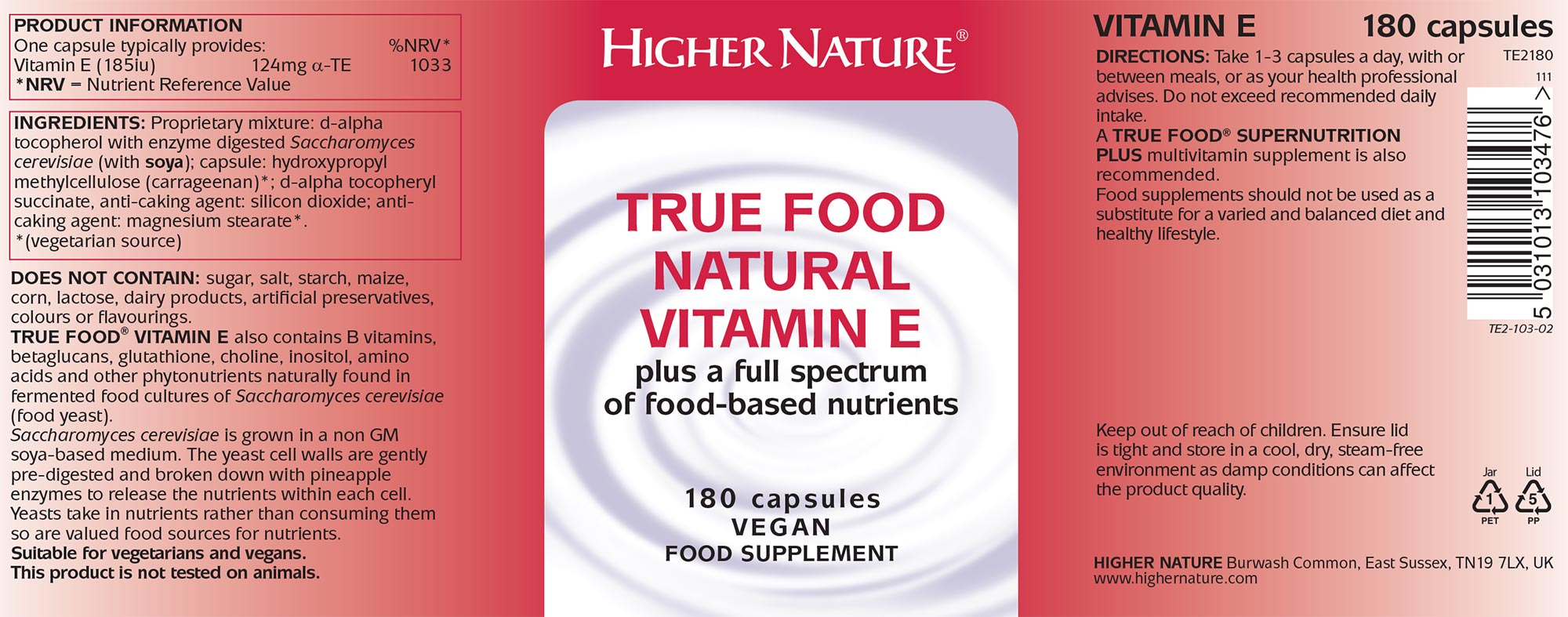 True Food Natural Vitamin E 30 Capsules 9 75 From The
