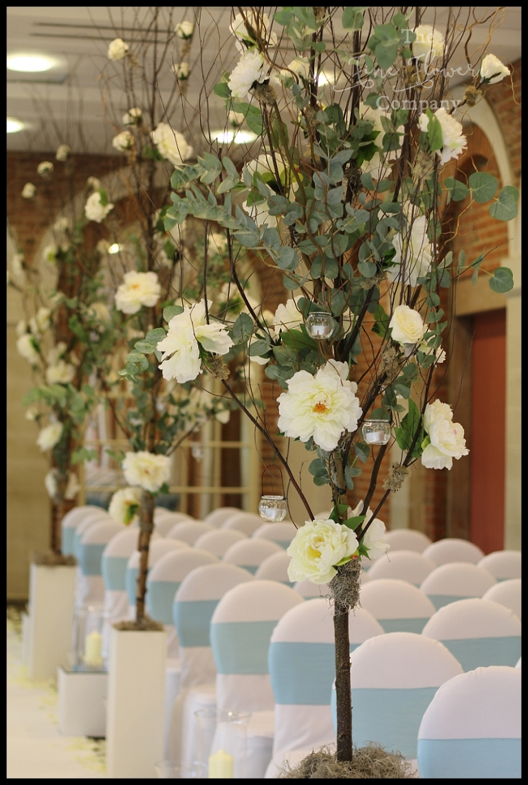 Beautiful Treelined Aisle at Great Fosters Wedding  The