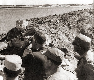 President Nasser's visit to the Suez front with Egypt's top military commanders during the War of Attrition.
