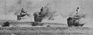 Egyptian tanks on the move in the Sinai desert, during the Yom Kippur War.