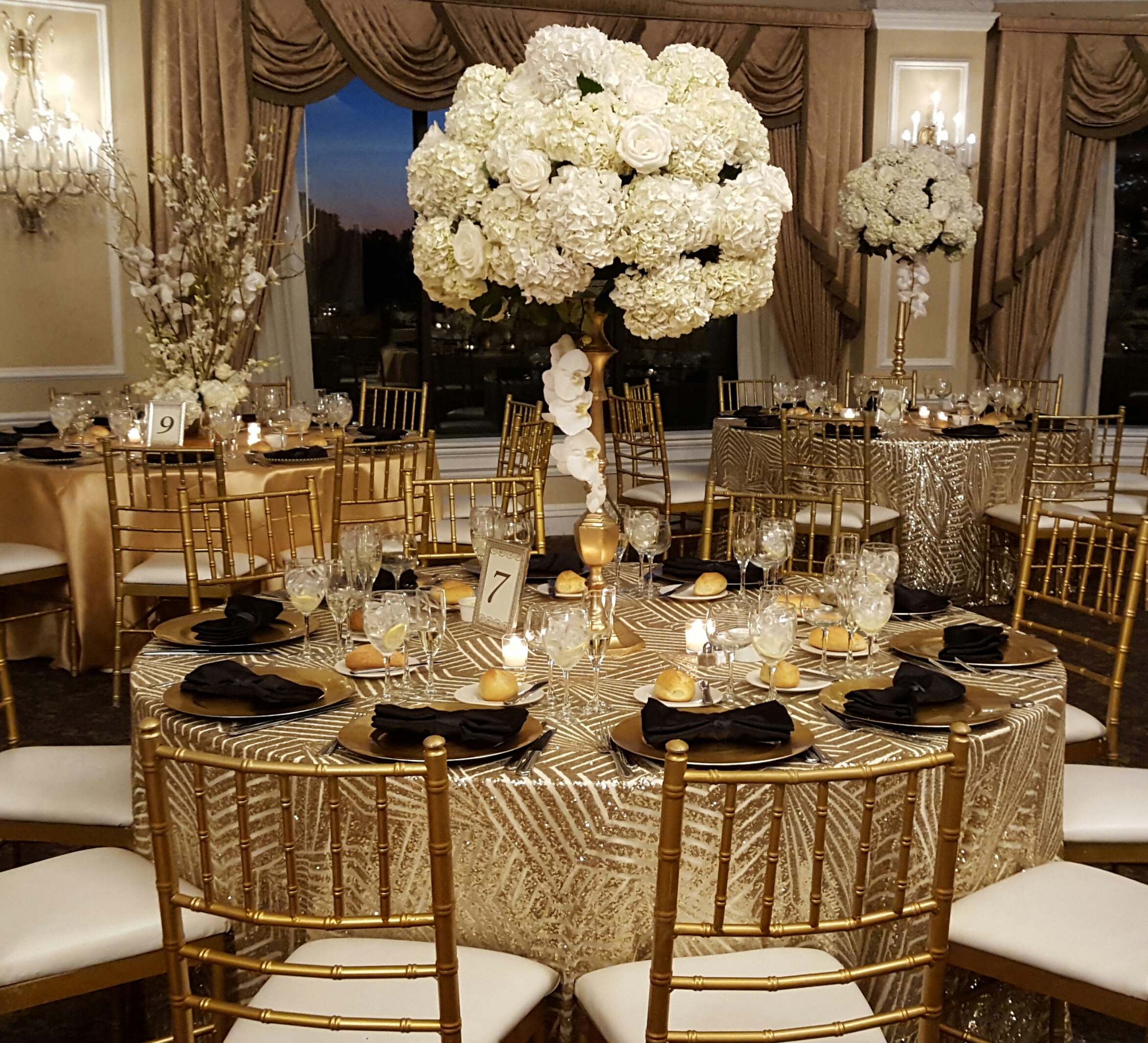 gold chair covers with black sash 2 seat outdoor table and chairs gatsby - the finishing touch