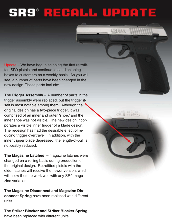 Ruger Sr9 Recall Update Will Now Feature Glock Style