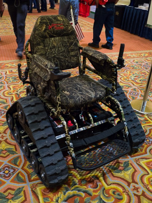 action track chair adjustable gaming trackchair getting disabled hunters back out into the field was on display at shot show it allows wheelchair users go off road fields or forests to hunt optional accessories include a
