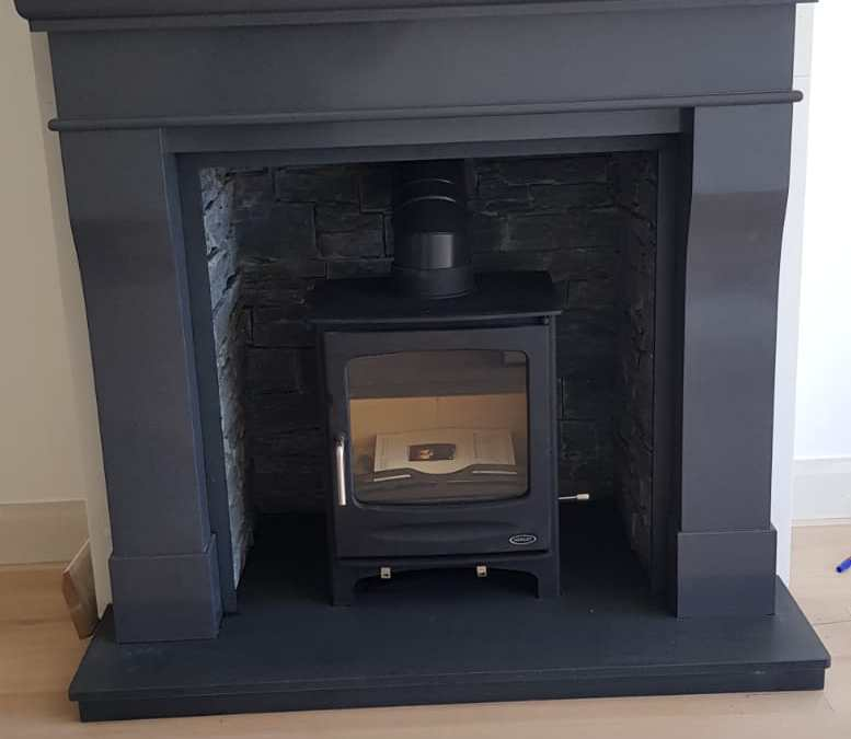 Grey Marble Fireplace with Henley Sherwood Stove