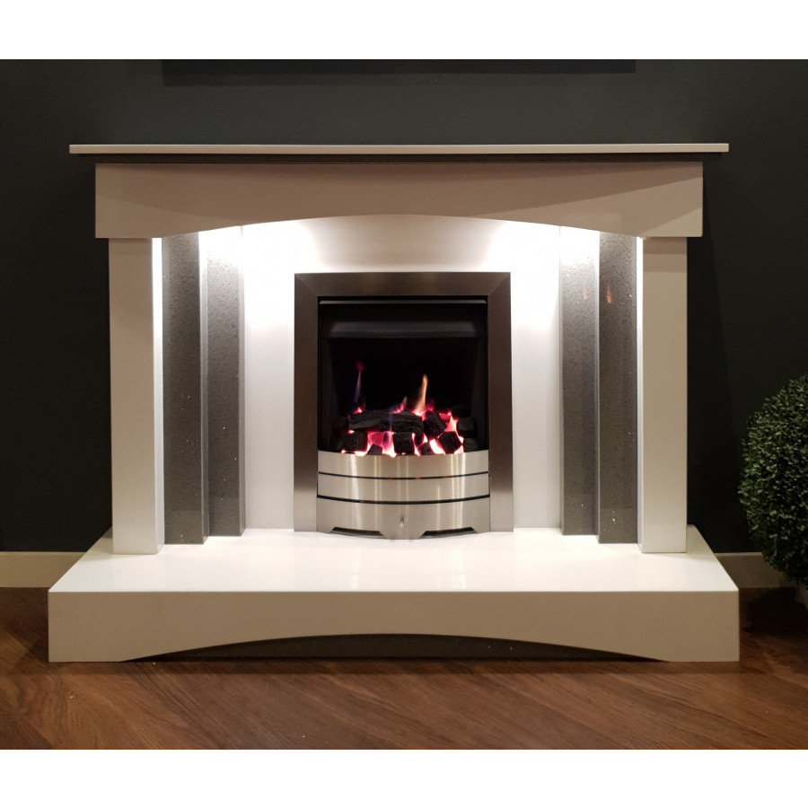 Plateau Fireplace In White Amp Quartz Grey Marble