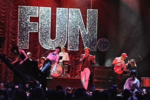 FRANKFURT AM MAIN, GERMANY - NOVEMBER 11: Andrew Dost, Jack Antonoff and Nate Ruess of Fun performs onstage during the MTV EMA's 2012 at Festhalle Frankfurt on November 11, 2012 in Frankfurt am Main, Germany. (Photo by Dave J Hogan/Getty Images for MTV)