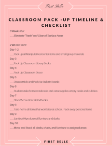 packing up your classroom