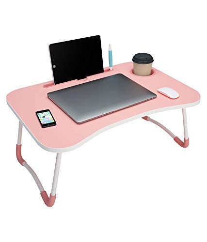 OXA Smart Multi-Purpose Laptop Table with Dock Stand/Study Table/Bed Table/Foldable and Portable/Ergonomic & Rounded Edges/Non-Slip Legs (Pink)