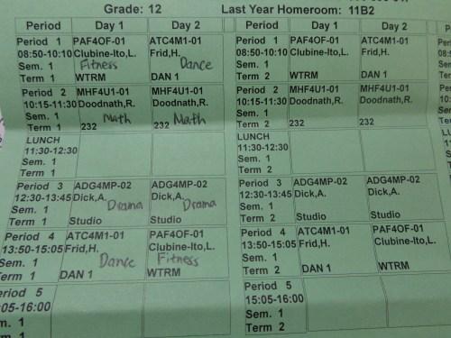 Semester one Schedule.