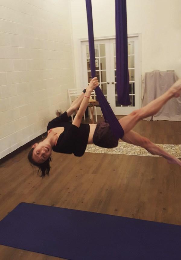 yoga, trapeze, selfie, flying, fun