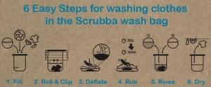 steps to wash, scrubba wash bag