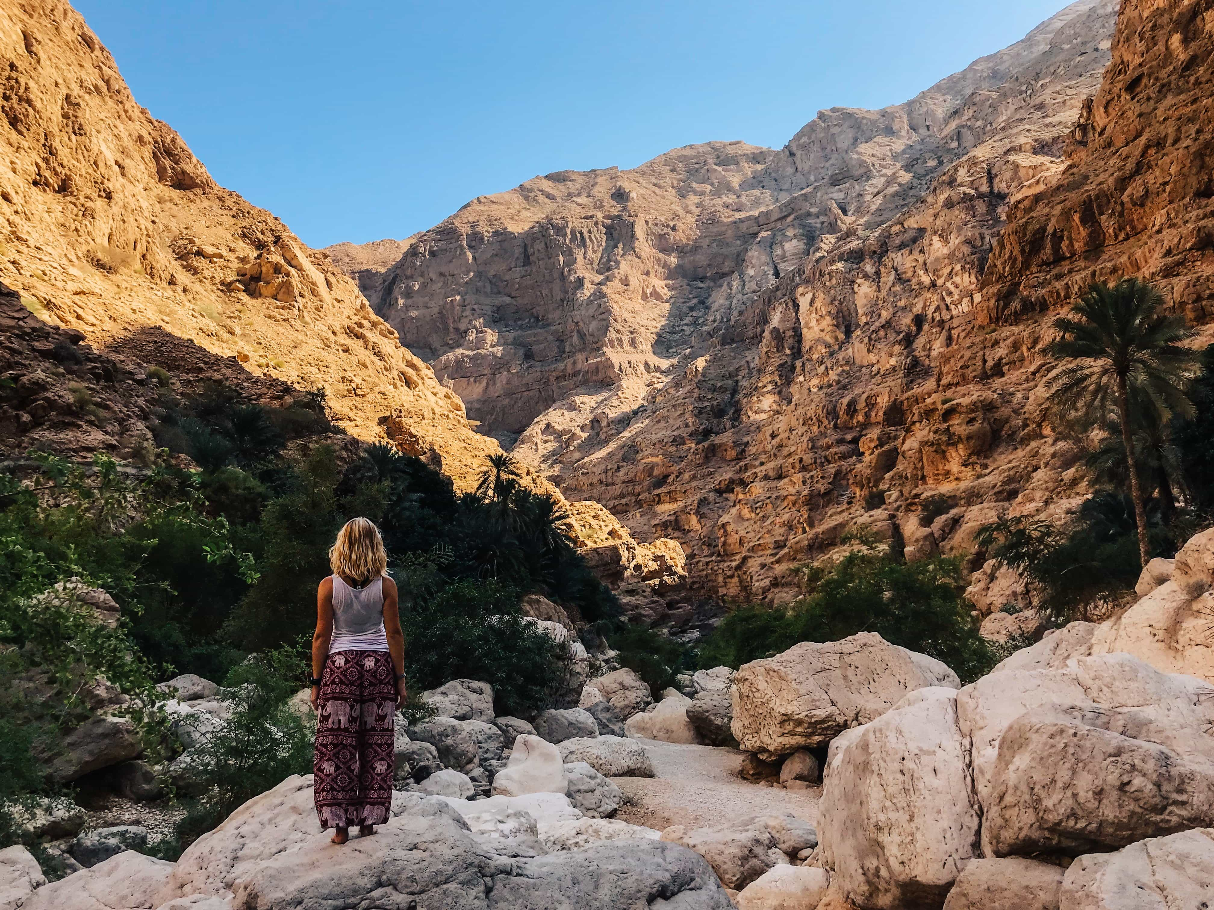 girls looks away from camera and into the canyon in front of her
