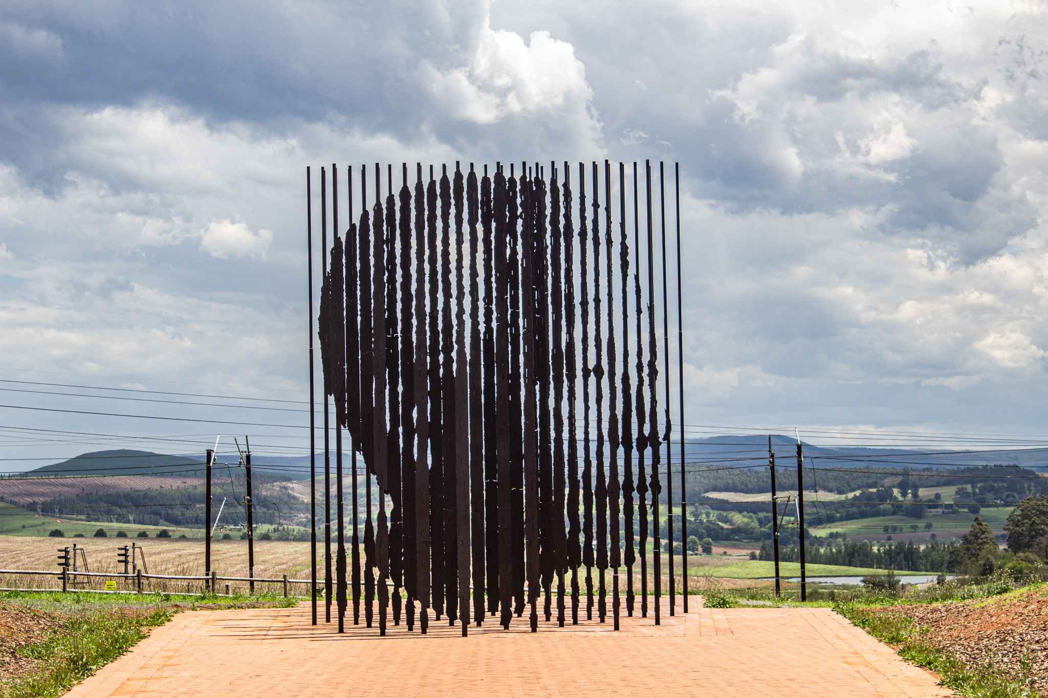 a sculpture that illustrates nelson mandela's face when you look at it from the right direction