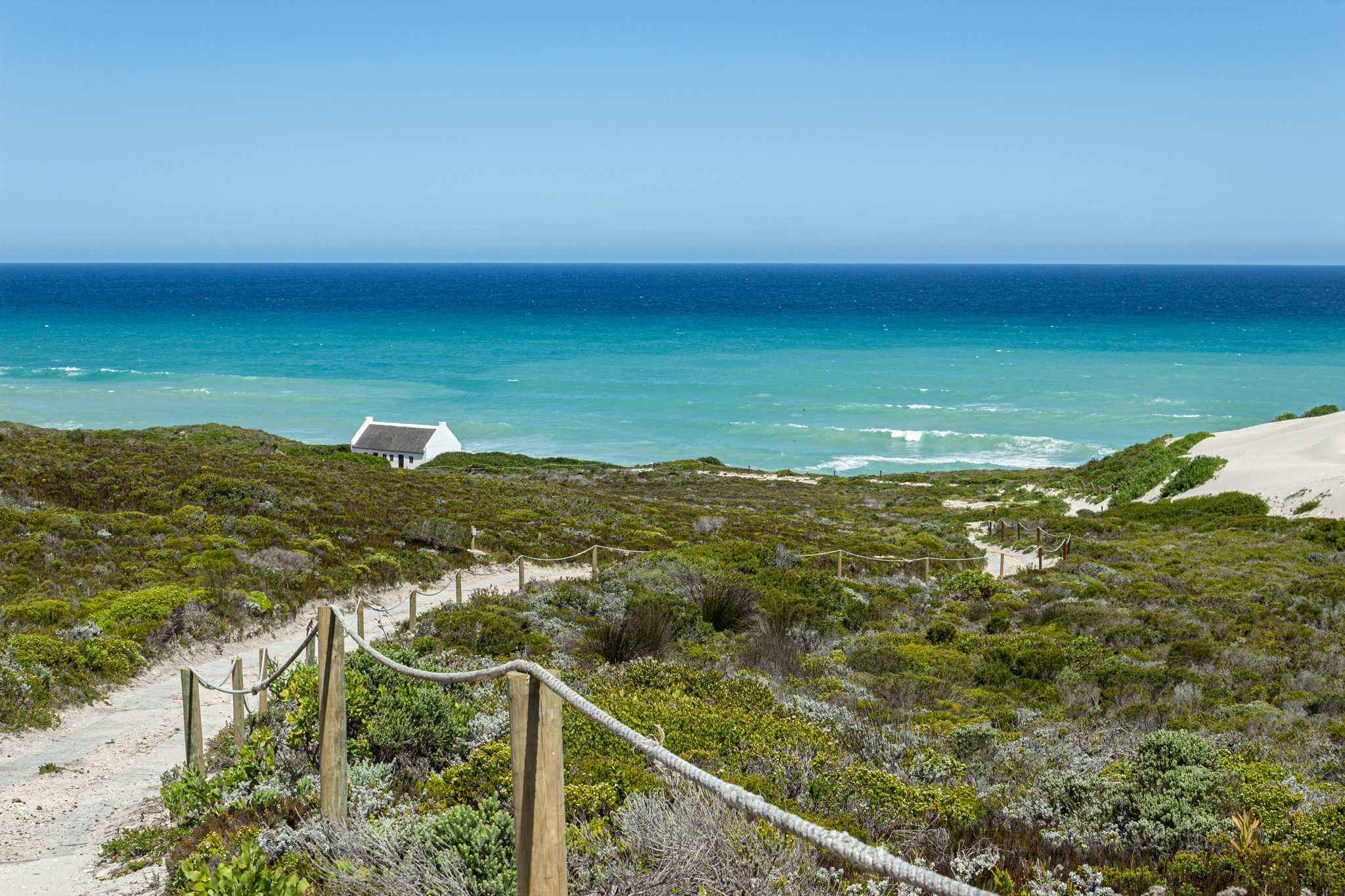white sand dunes facing the turquoise ocean; a must see on your south africa vacation