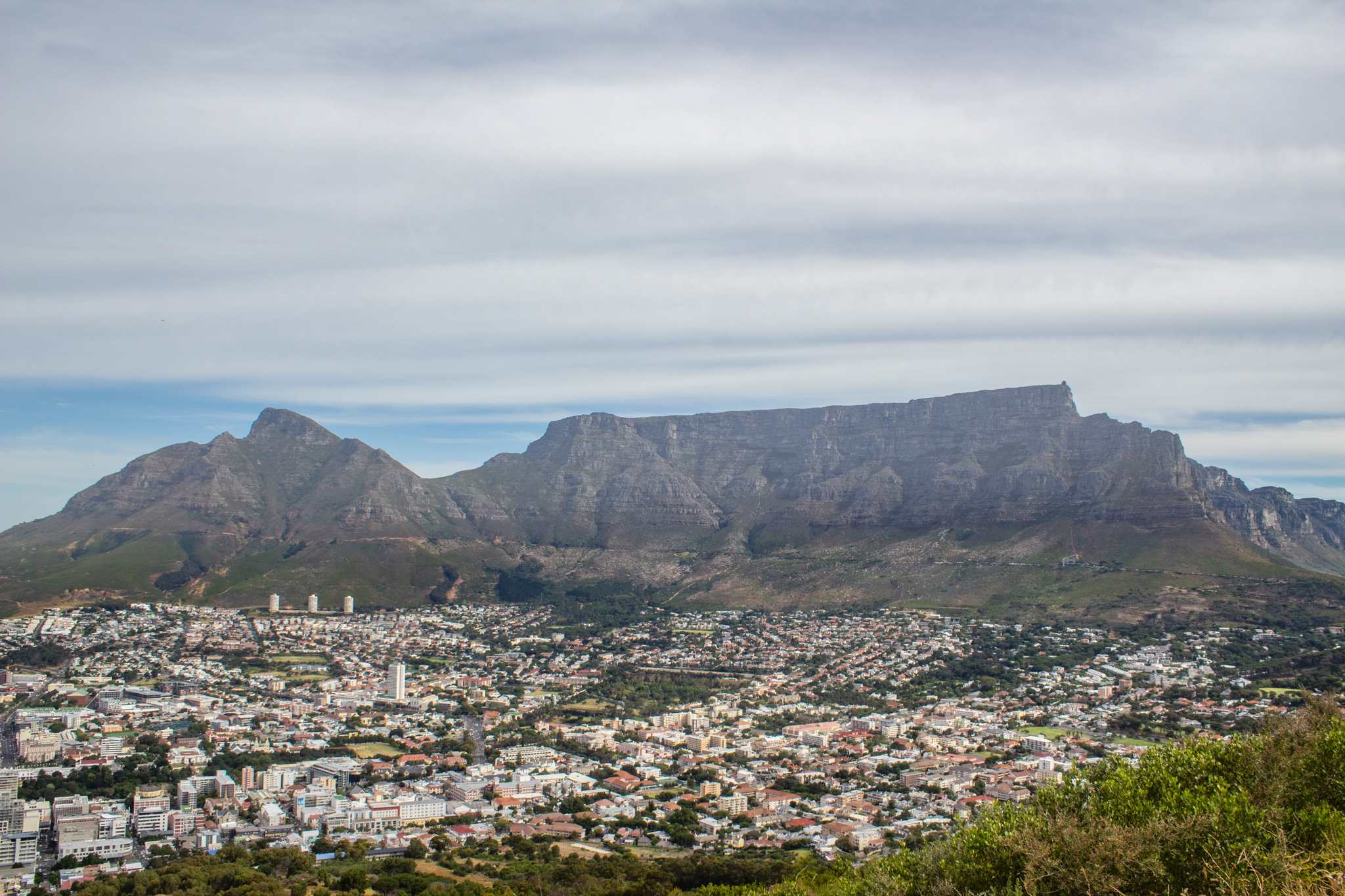 view of south africa's iconic table mountain from signal hill