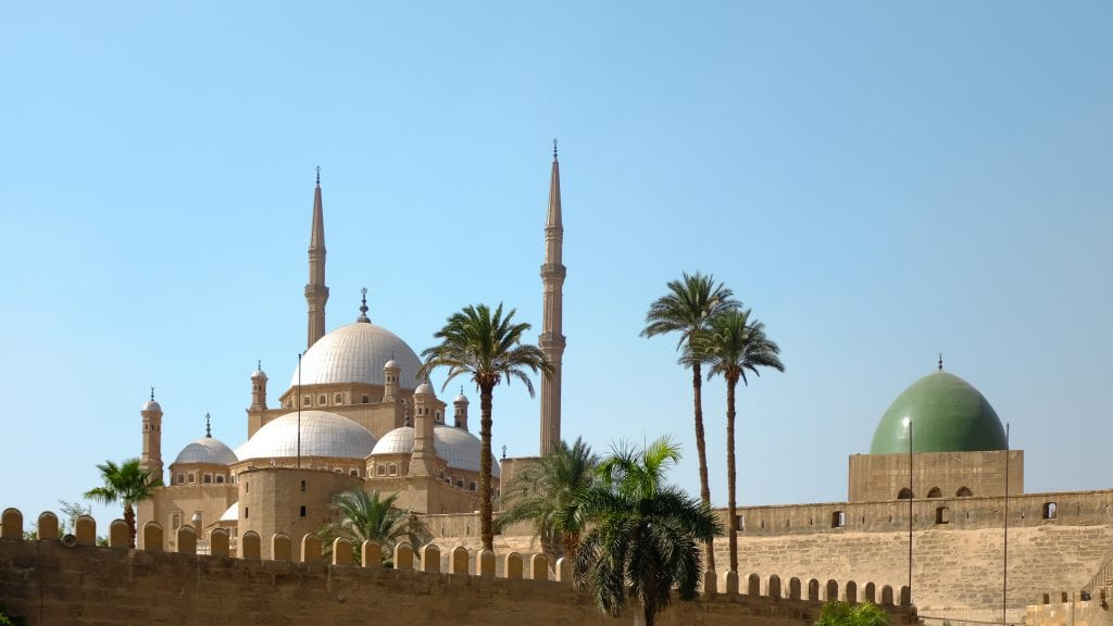 a mosque sits within a citadel