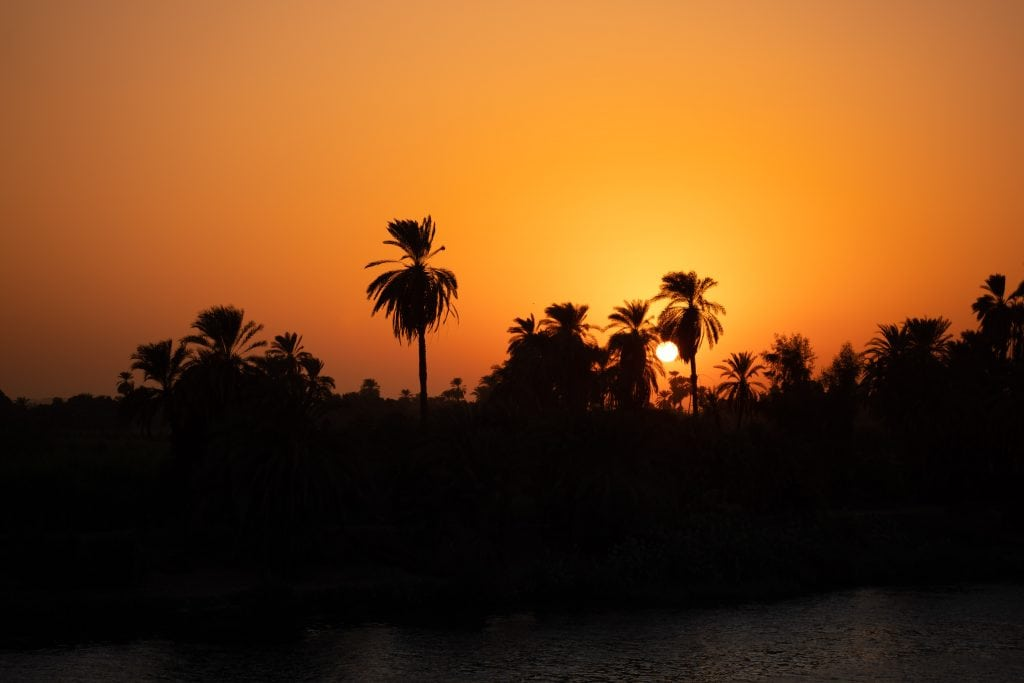 sunset over the nile on our luxury nile cruise