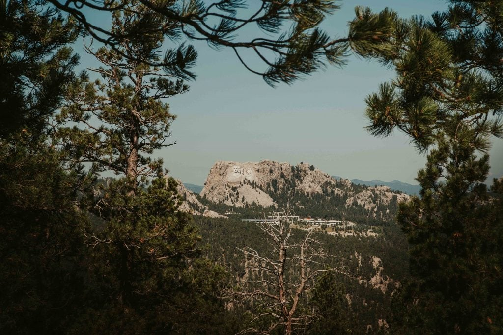views of mount rushmore from the road