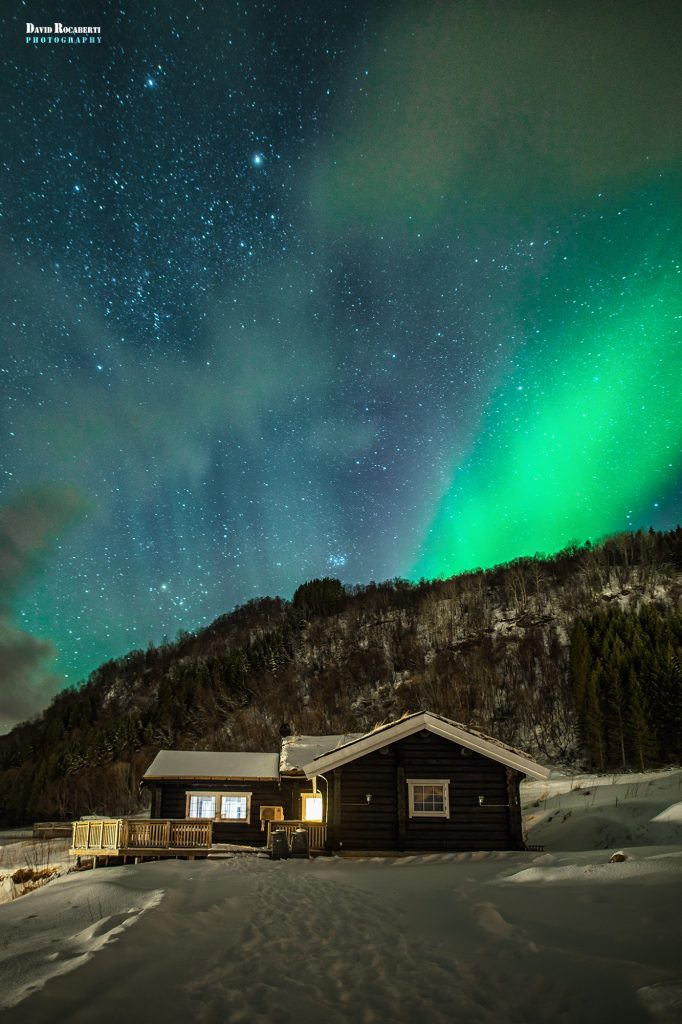northern lights over our cabin at dyroy holiday