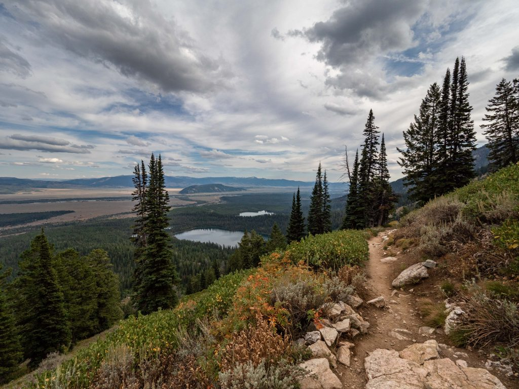 the winding switchbacks leading to delta lake in grand teton national park