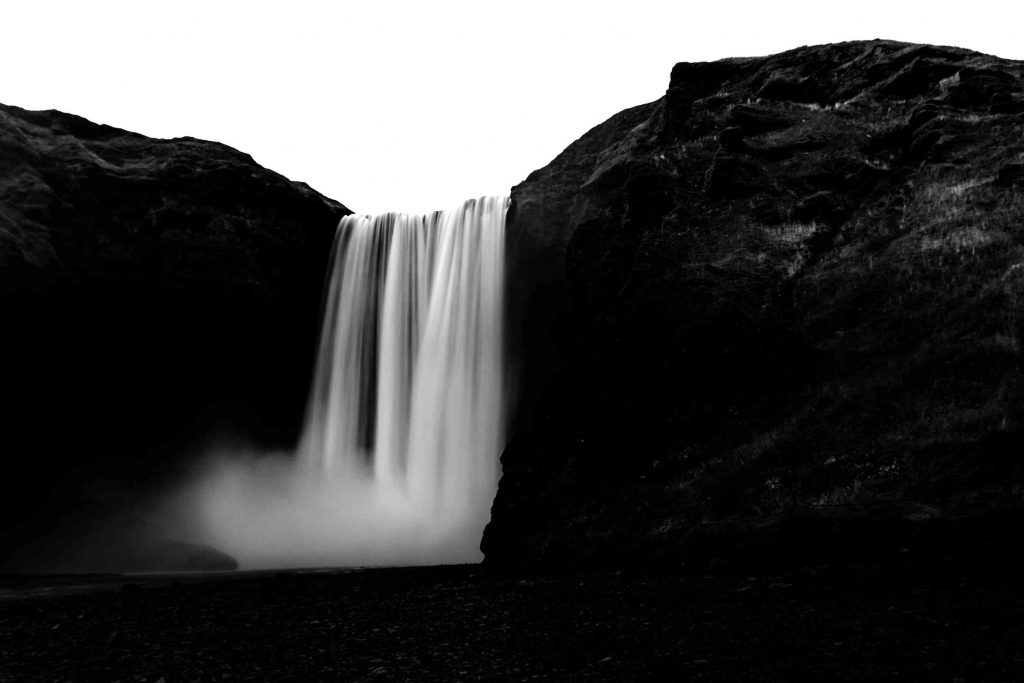 a photo of skogafoss from below