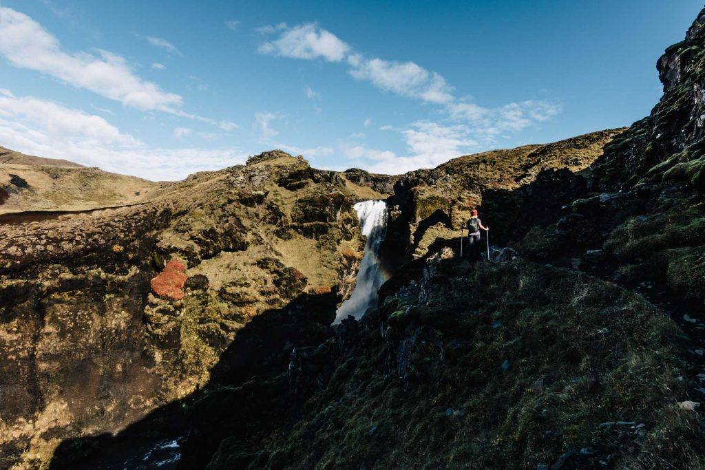 girl hikes in iceland on her holidays