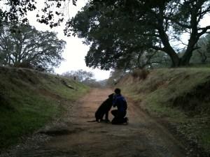 me and titan on a hike