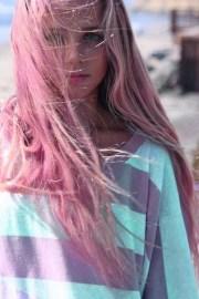 pink hair blue pastel