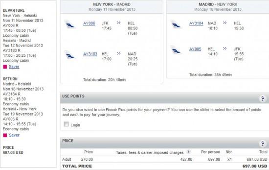 Airfare Deal – Finnair: New York