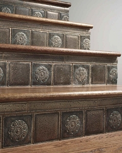 Stairs Stair Parts Accessories Metal Newels Balusters Stair Risers | Wood Stairs With Tile Risers | Grey | Diy | Design | Mosaic | Stone