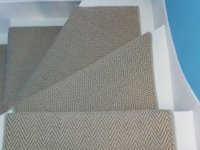 Stairs The Flooring Group   Herringbone Carpet On Stairs   Edgecomb Gray   Design   High Traffic   Commercial   Light Grey Grey