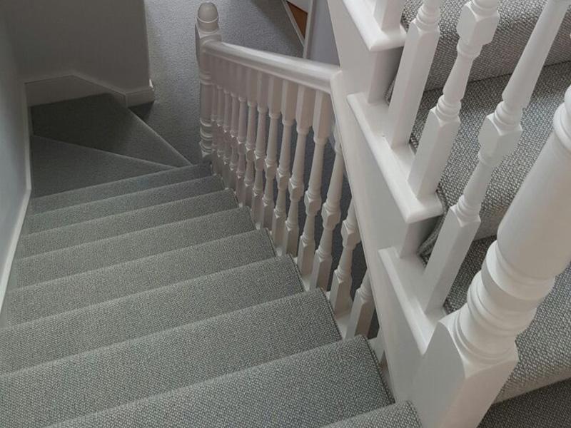 Stairs, Grey Wool Carpet