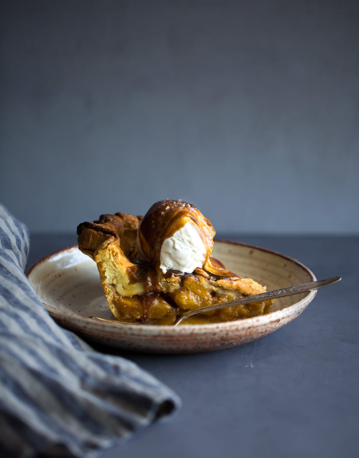 Peach & Salted Coconut Caramel Pie