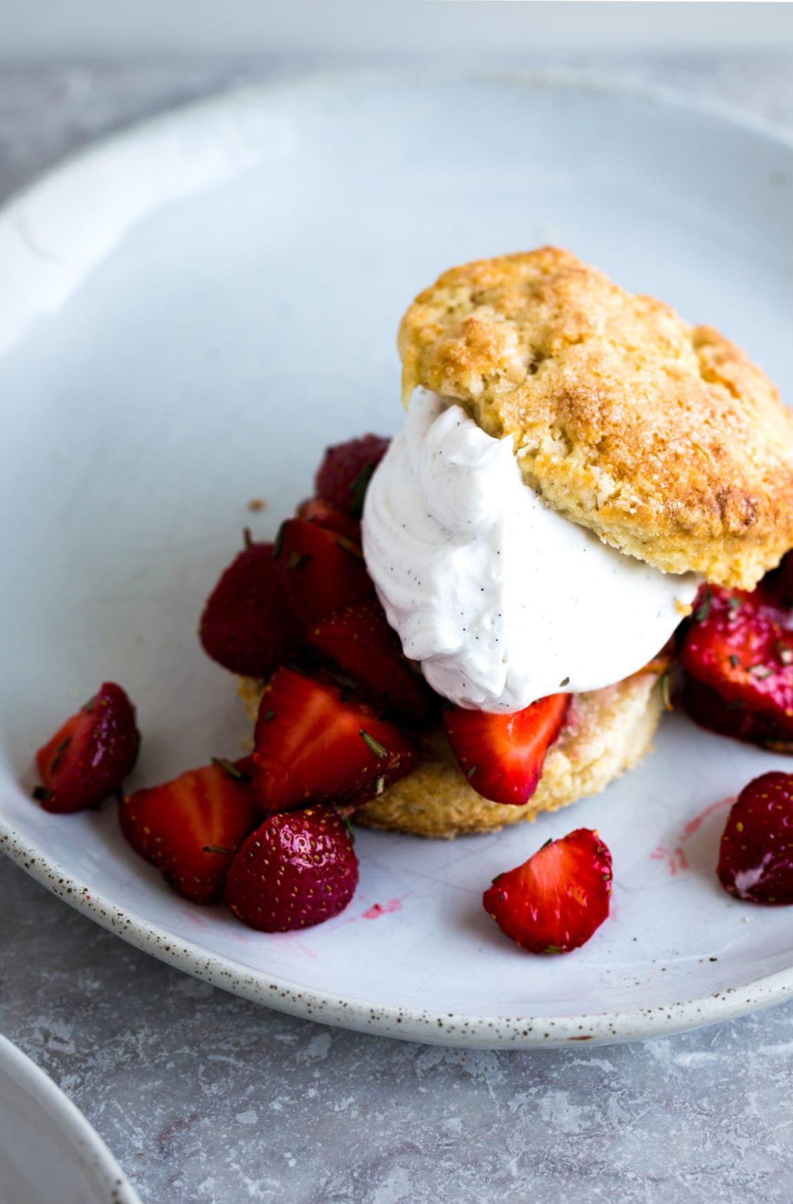 Barley & Rosemary Strawberry Shortcakes with Vanilla Bean Coconut Whipped Cream (vegan) | The Floured Kitchen