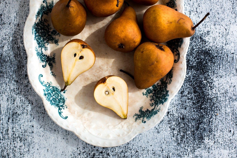 Vegan Coconut Milk Panna Cotta with Jasmine Tea Poached Pears + Pomegranate | The Floured Kitchen