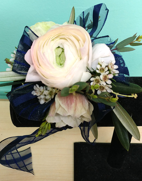 Prom the flower diva prom corsage white flowers with navy ribbon mightylinksfo