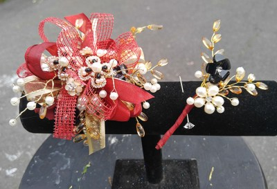 Prom Corsage and Boutonniere Red Gold The Flower Diva