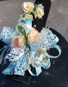 Prom Flowers Teal Peach