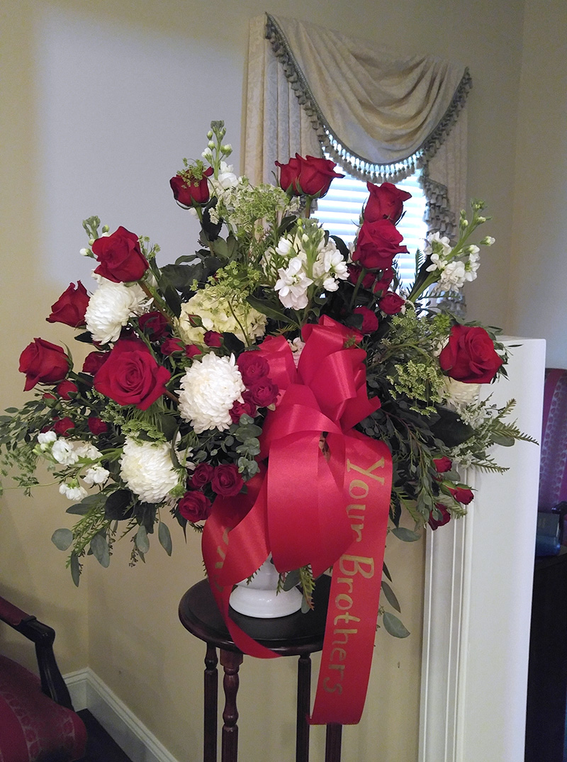 Sympathy Arrangement Red and White in Vase