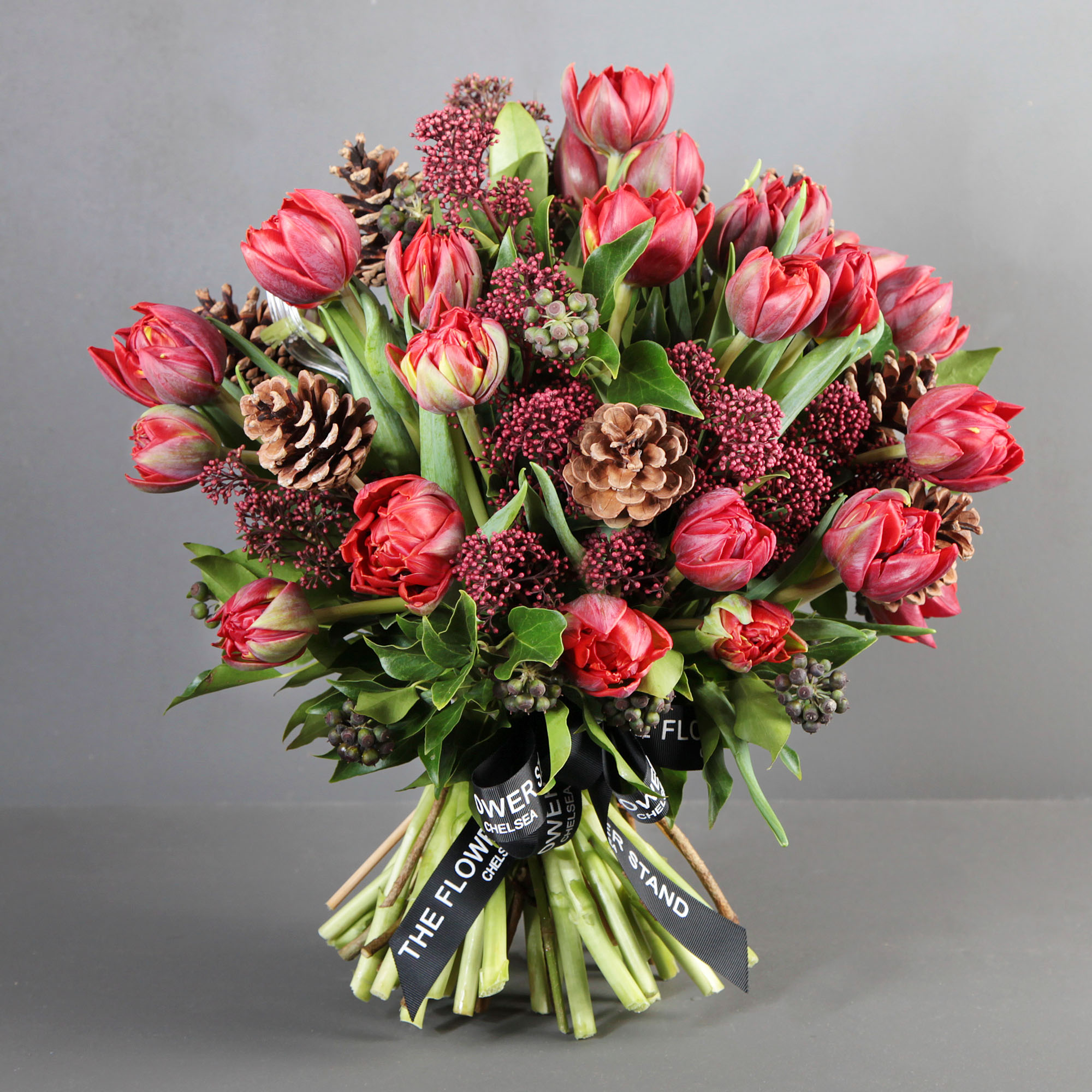 Red Tulip Christmas Bouquet Festive Flowers London Same