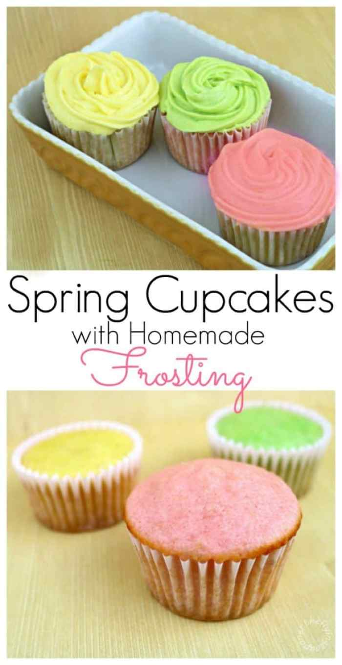 Spring Cupcakes with Homemade Frosting Recipe. Easter.