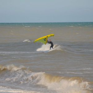Wingsurf lesson in waves