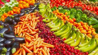 colourful fruit and veg laidout